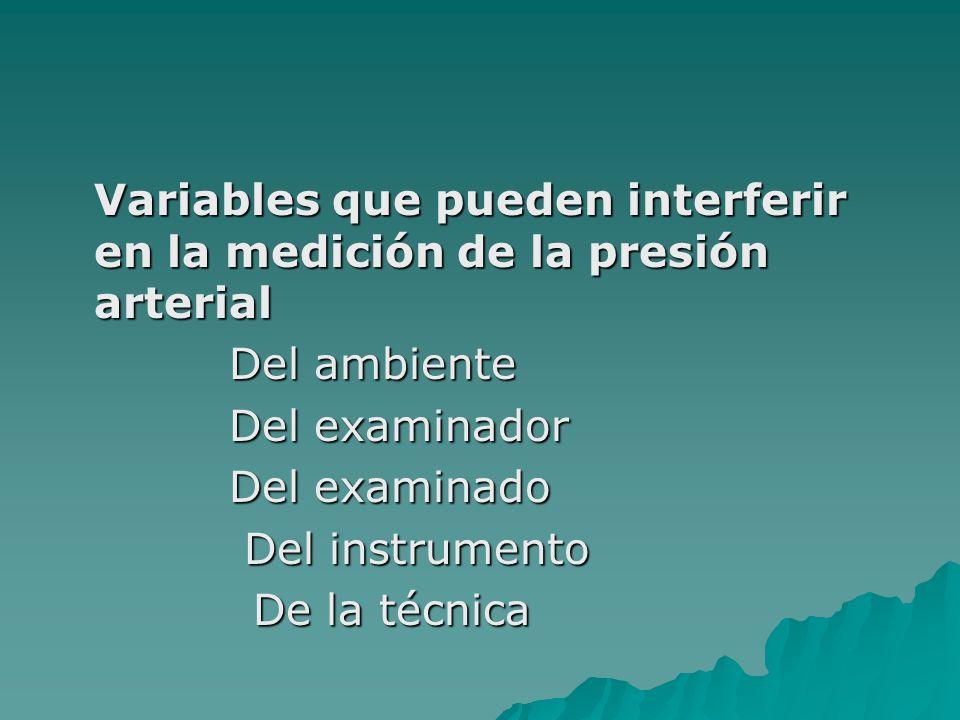 Variables que pueden interferir en la medición de la presión arterial Del ambiente Del ambiente Del examinador Del examinador Del examinado Del examin