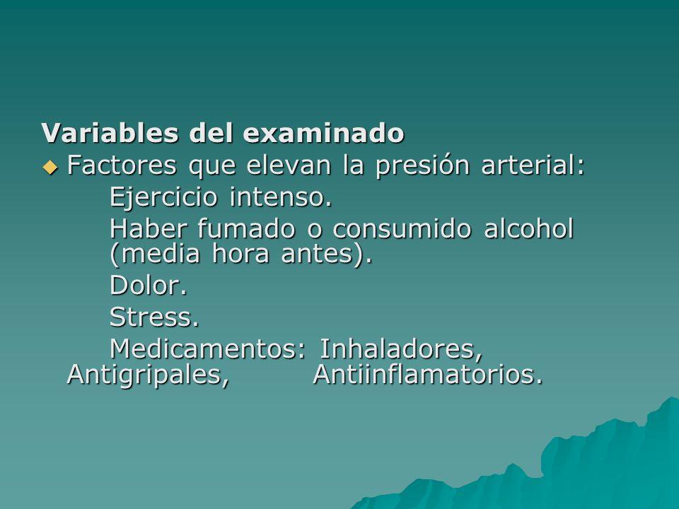 Variables del examinado Factores que elevan la presión arterial: Factores que elevan la presión arterial: Ejercicio intenso. Haber fumado o consumido