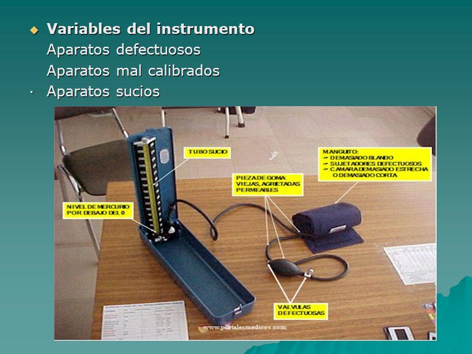Variables del instrumento Variables del instrumento Aparatos defectuosos Aparatos mal calibrados ·Aparatos sucios