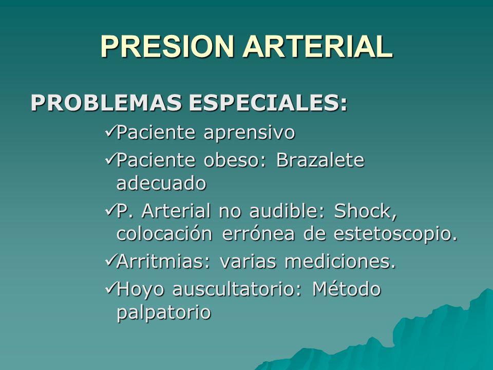PROBLEMAS ESPECIALES: Paciente aprensivo Paciente aprensivo Paciente obeso: Brazalete adecuado Paciente obeso: Brazalete adecuado P. Arterial no audib