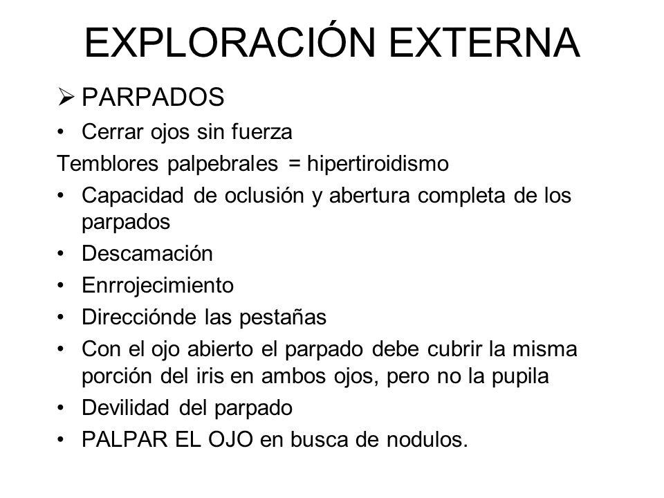 EXPLORACIÓN EXTERNA CEJA Tamaño, grosor, textura, extención. Inusitadamente fina = hipotiroidismo REGION ORBITARIA Edema, hincazon, o lasitud en los t