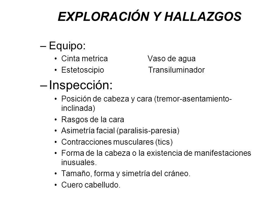Inspeccione los pabellones auriculares y la region mastoidea en cuanto ha.