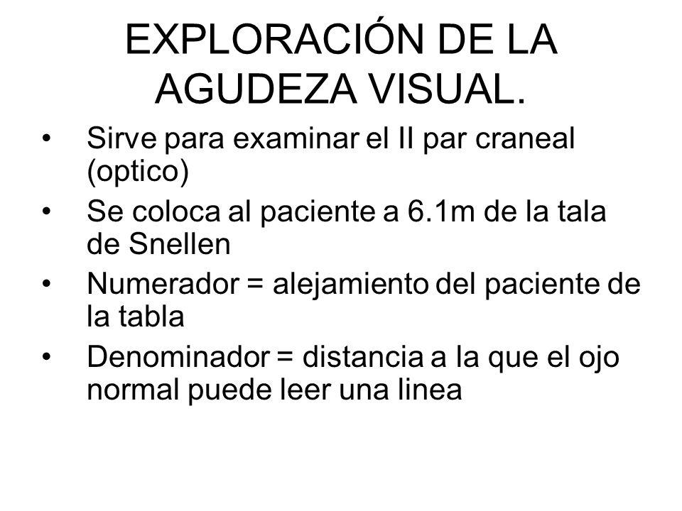 EXPLORACIÓN DE LA AGUDEZA VISUAL.