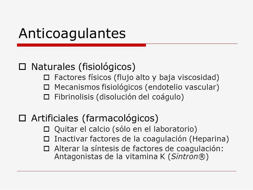Anticoagulantes Naturales (fisiológicos) Factores físicos (flujo alto y baja viscosidad) Mecanismos fisiológicos (endotelio vascular) Fibrinolisis (di