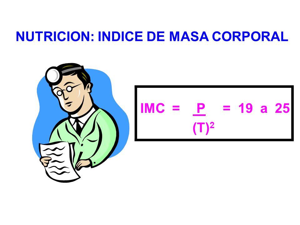 NUTRICION: INDICE DE MASA CORPORAL IMC = P= 19 a 25 (T) 2
