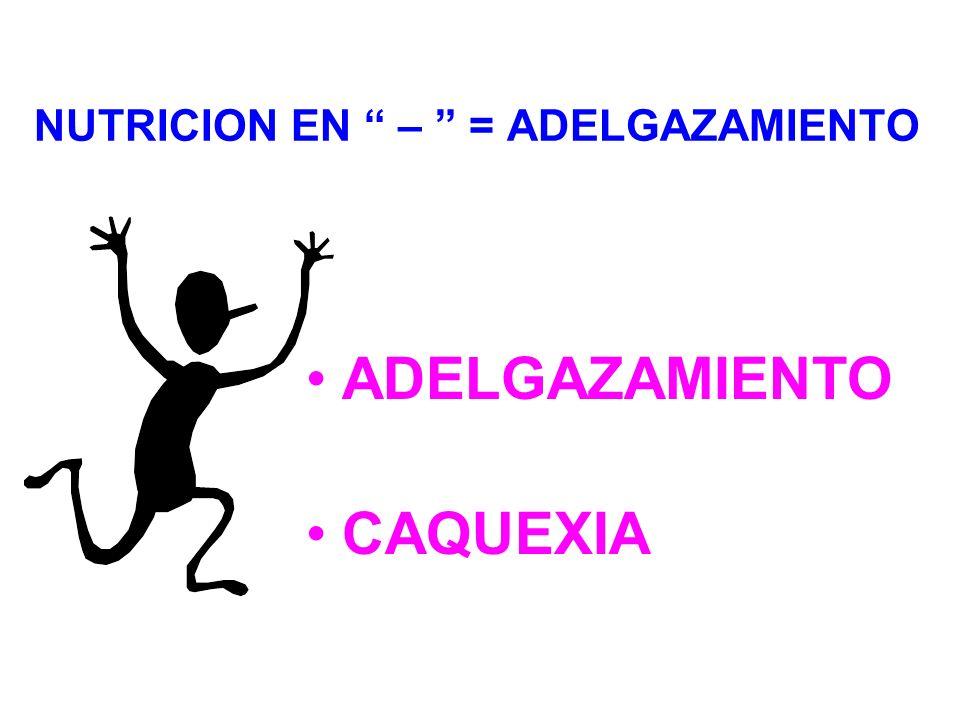 NUTRICION EN – = ADELGAZAMIENTO ADELGAZAMIENTO CAQUEXIA