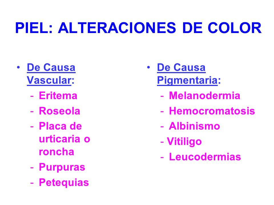 PIEL: ALTERACIONES DE COLOR De Causa Vascular: -Eritema -Roseola -Placa de urticaria o roncha -Purpuras -Petequias De Causa Pigmentaria: -Melanodermia