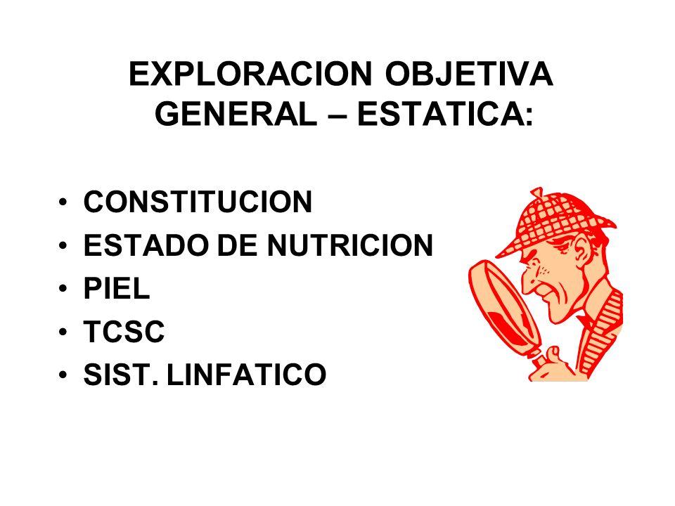 EXPLORACION OBJETIVA GENERAL – ESTATICA: CONSTITUCION ESTADO DE NUTRICION PIEL TCSC SIST. LINFATICO