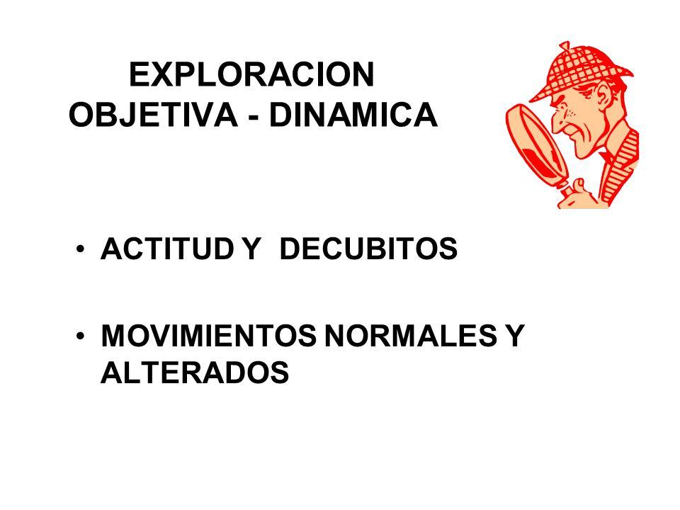 EXPLORACION OBJETIVA - DINAMICA ACTITUD Y DECUBITOS MOVIMIENTOS NORMALES Y ALTERADOS