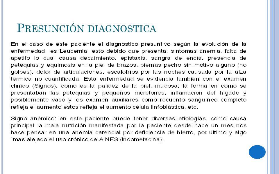 P RESUNCIÓN DIAGNOSTICA
