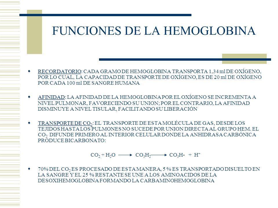 FUNCIONES DE LA HEMOGLOBINA RECORDATORIO RECORDATORIO: CADA GRAMO DE HEMOGLOBINA TRANSPORTA 1,34 ml DE OXÍGENO, POR LO CUAL, LA CAPACIDAD DE TRANSPORT