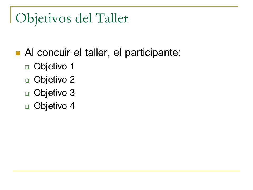 Objetivos del Taller Al concuir el taller, el participante: Objetivo 1 Objetivo 2 Objetivo 3 Objetivo 4