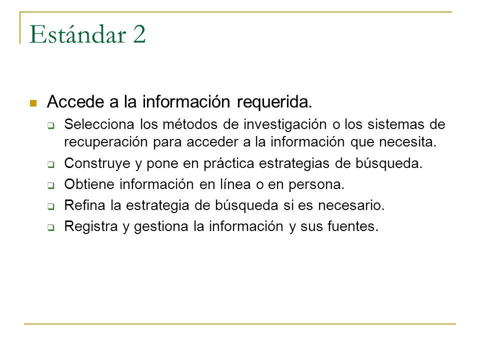 Estándar 2 Accede a la información requerida. Selecciona los métodos de investigación o los sistemas de recuperación para acceder a la información que