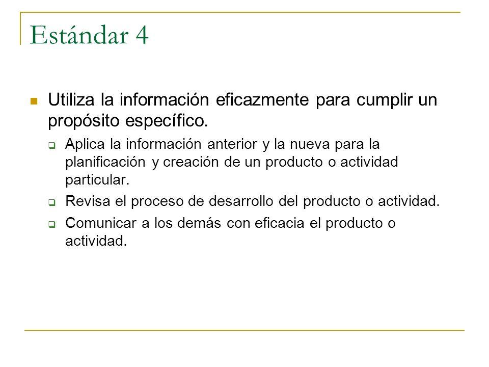 Estándar 4 Utiliza la información eficazmente para cumplir un propósito específico. Aplica la información anterior y la nueva para la planificación y