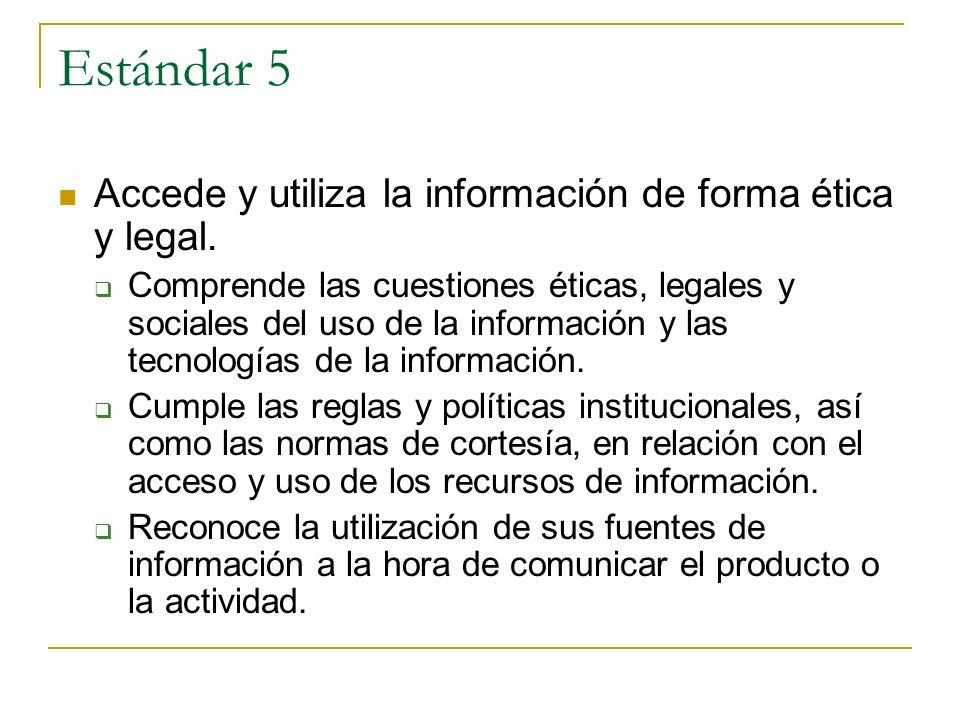 Estándar 5 Accede y utiliza la información de forma ética y legal. Comprende las cuestiones éticas, legales y sociales del uso de la información y las