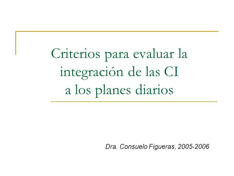 Criterios para evaluar la integración de las CI a los planes diarios Dra. Consuelo Figueras, 2005-2006