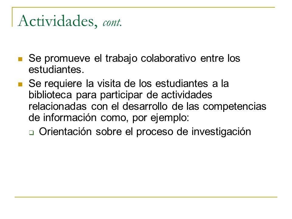 Actividades, cont. Se promueve el trabajo colaborativo entre los estudiantes. Se requiere la visita de los estudiantes a la biblioteca para participar