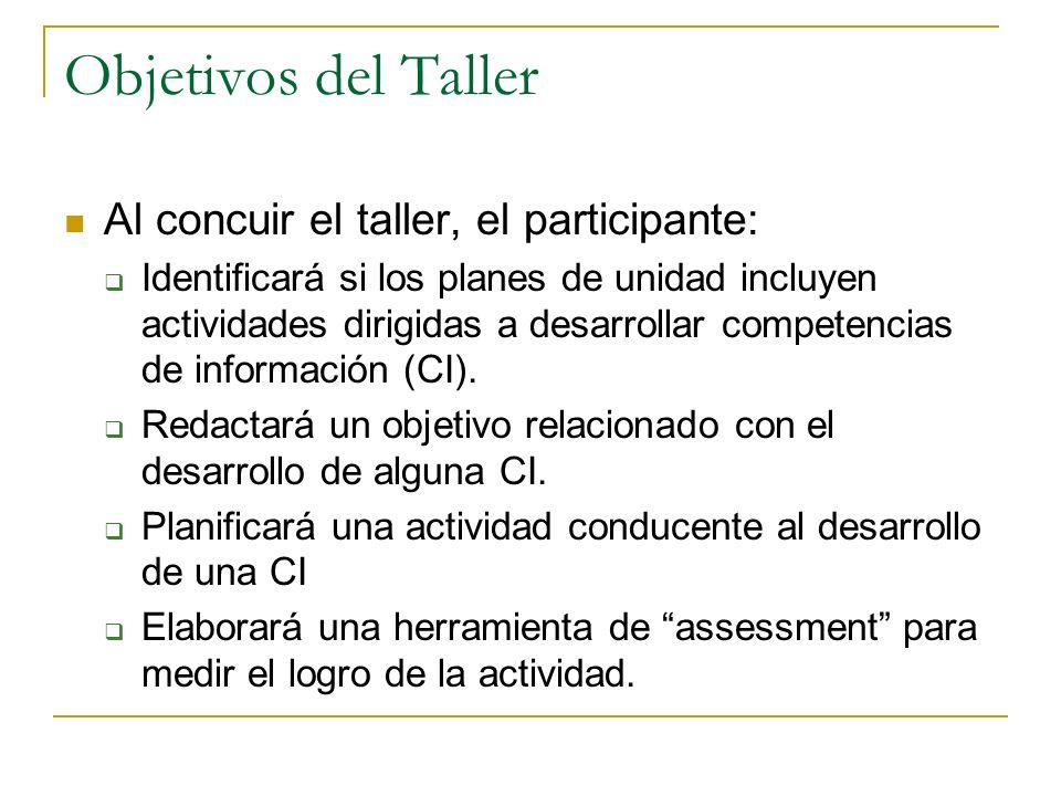 Objetivos del Taller Al concuir el taller, el participante: Identificará si los planes de unidad incluyen actividades dirigidas a desarrollar competen