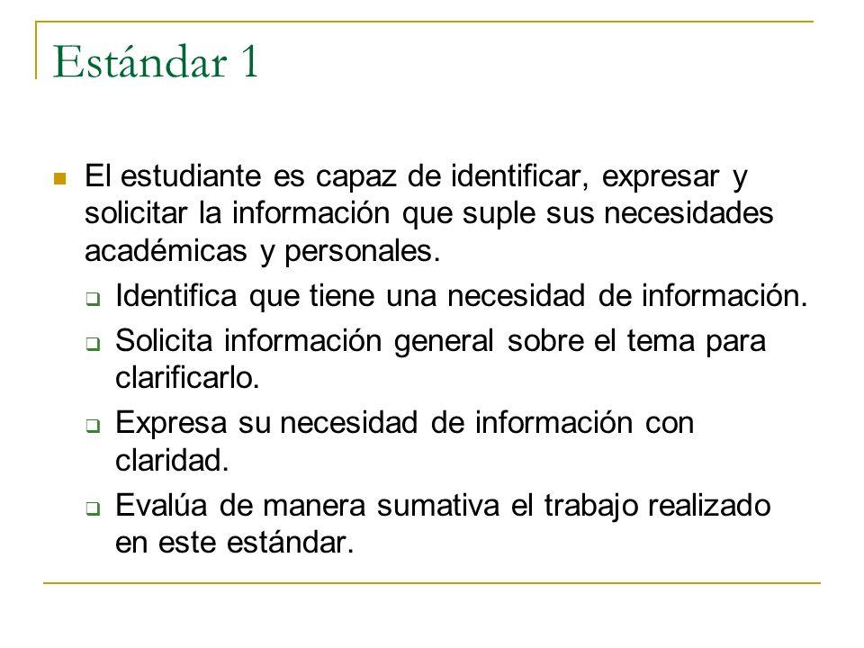 Estándar 1 El estudiante es capaz de identificar, expresar y solicitar la información que suple sus necesidades académicas y personales. Identifica qu