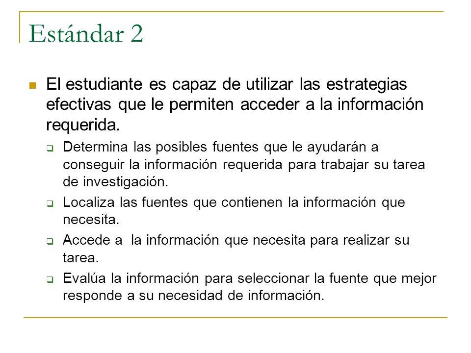 Estándar 2 El estudiante es capaz de utilizar las estrategias efectivas que le permiten acceder a la información requerida. Determina las posibles fue