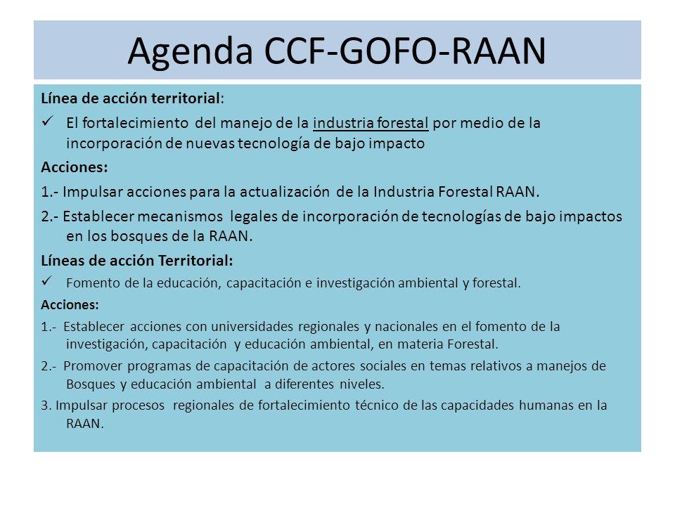 Agenda CCF-GOFO-RAAN Línea de acción territorial: El fortalecimiento del manejo de la industria forestal por medio de la incorporación de nuevas tecnología de bajo impacto Acciones: 1.- Impulsar acciones para la actualización de la Industria Forestal RAAN.