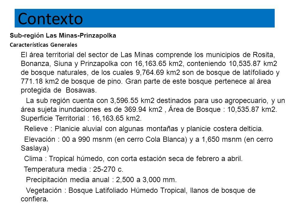 Contexto Sub-región Las Minas-Prinzapolka Características Generales El área territorial del sector de Las Minas comprende los municipios de Rosita, Bonanza, Siuna y Prinzapolka con 16,163.65 km2, conteniendo 10,535.87 km2 de bosque naturales, de los cuales 9,764.69 km2 son de bosque de latífoliado y 771.18 km2 de bosque de pino.