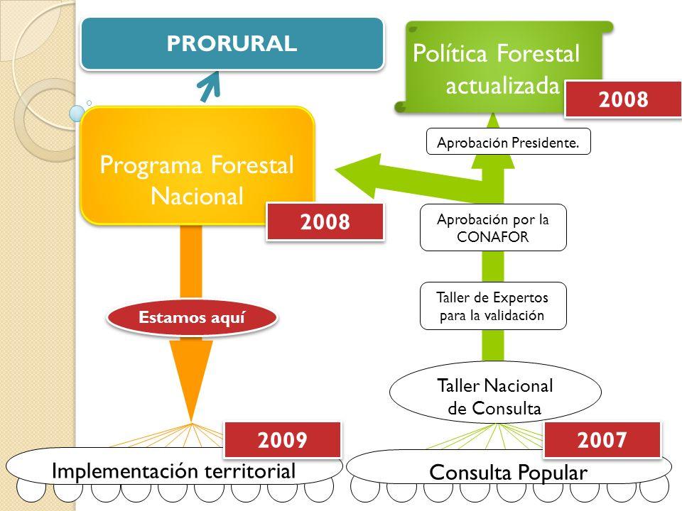 El concepto de la política y el PFN Tiempo Pobreza Manejo Forestal Sostenible y Forestería Comunitaria Articulación de las cadenas de valor Fondo Nacional de Desarrollo Forestal (FONADEFO): financiamiento de actividades de reforestación, plantaciones, manejo de bosques, fortalecimiento institucional público y privado.