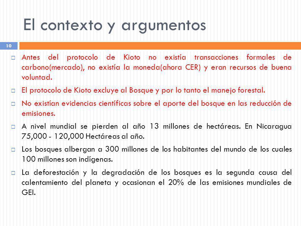 El contexto y argumentos 10 Antes del protocolo de Kioto no existía transacciones formales de carbono(mercado), no existía la moneda(ahora CER) y eran