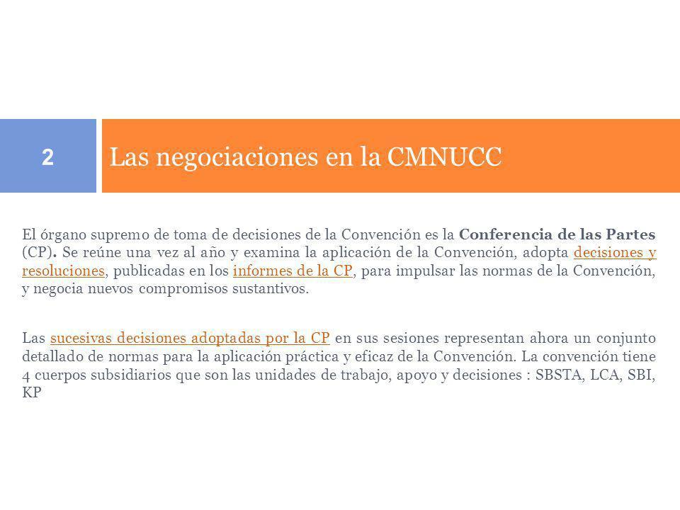 Estruturas de las negociaciones y sus cuerpos subsidiarios - CMNUCC Grupo de trabajo de largo GTE- ACLP Visio compartida Mitigacion : REDD Adaptacion Tecnologia y financiamiento Protocolo de Kyoto.