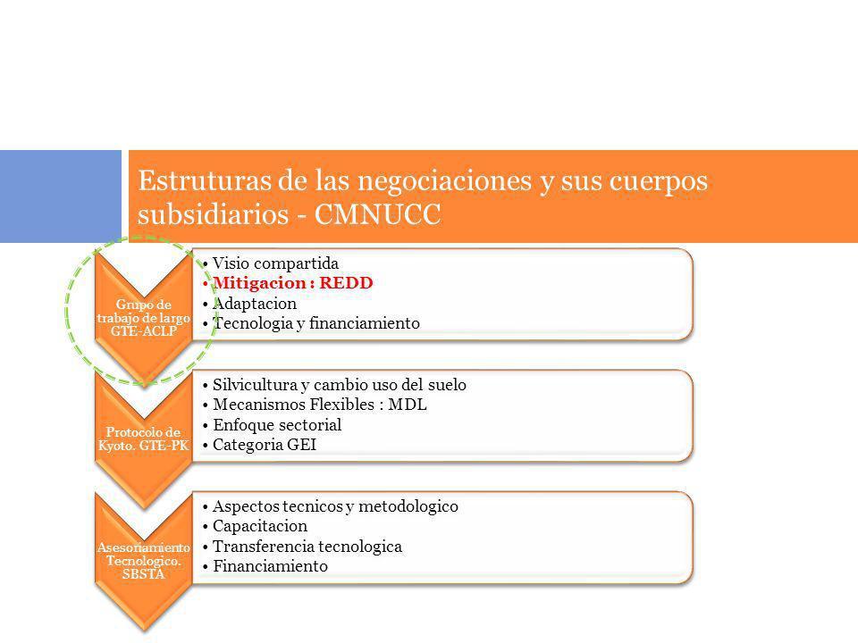 Estruturas de las negociaciones y sus cuerpos subsidiarios - CMNUCC Grupo de trabajo de largo GTE- ACLP Visio compartida Mitigacion : REDD Adaptacion