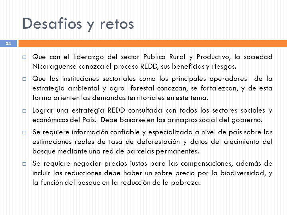Desafios y retos Que con el liderazgo del sector Publico Rural y Productivo, la sociedad Nicaraguense conozca el proceso REDD, sus beneficios y riesgo