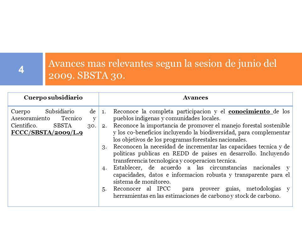 Avances mas relevantes segun la sesion de junio del 2009. SBSTA 30. 4 Cuerpo subsidiarioAvances Cuerpo Subsidiario de Asesoramiento Tecnico y Cientifi