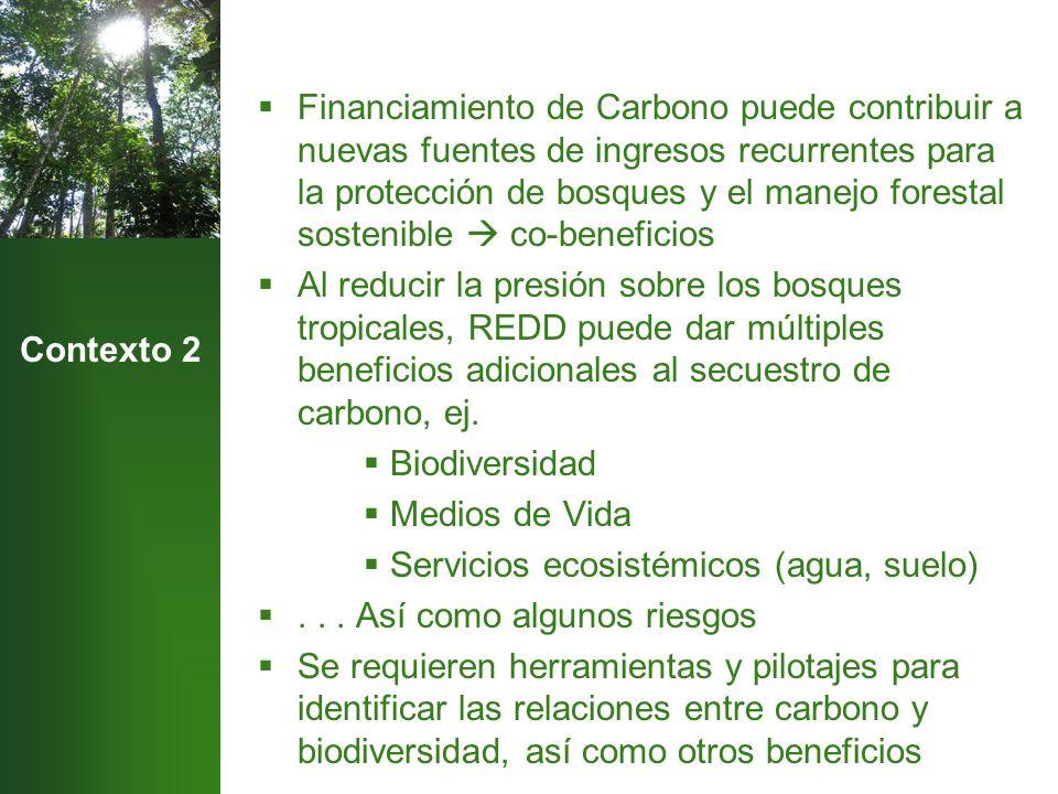 Contexto 2 Financiamiento de Carbono puede contribuir a nuevas fuentes de ingresos recurrentes para la protección de bosques y el manejo forestal sostenible co-beneficios Al reducir la presión sobre los bosques tropicales, REDD puede dar múltiples beneficios adicionales al secuestro de carbono, ej.