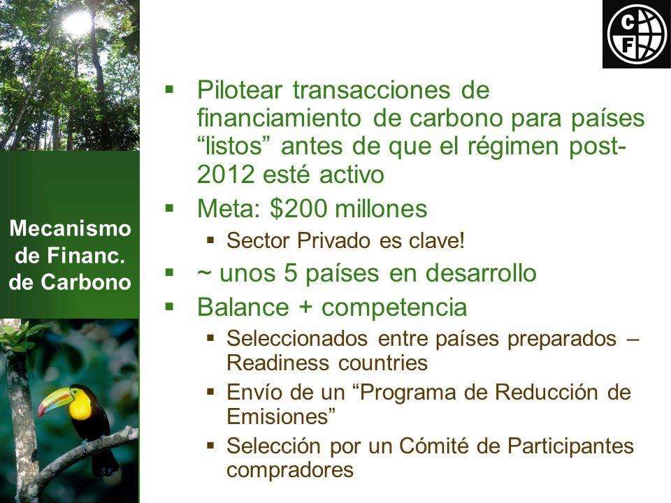 Mecanismo de Financ. de Carbono Pilotear transacciones de financiamiento de carbono para países listos antes de que el régimen post- 2012 esté activo