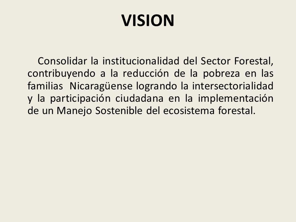 Misión Somos un sector comprometido con el fomento, conservación y manejo sostenible de los ecosistemas forestales, con la participación ciudadana ligada al recurso en función del desarrollo económico y calidad de vida de la población