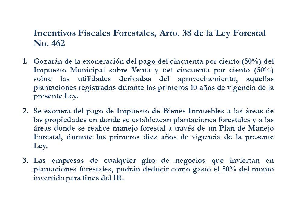 Incentivos Fiscales Forestales, Arto. 38 de la Ley Forestal No. 462 1.Gozarán de la exoneración del pago del cincuenta por ciento (50%) del Impuesto M