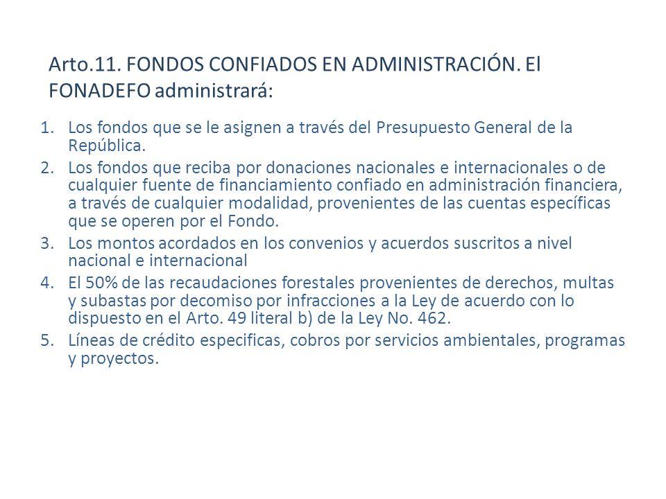 Arto.11. FONDOS CONFIADOS EN ADMINISTRACIÓN. El FONADEFO administrará: 1.Los fondos que se le asignen a través del Presupuesto General de la República