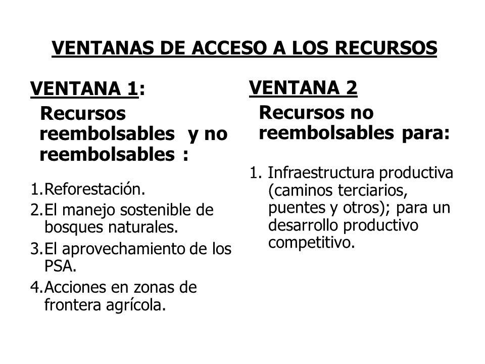 VENTANAS DE ACCESO A LOS RECURSOS VENTANA 1: Recursos reembolsables y no reembolsables : 1.Reforestación. 2.El manejo sostenible de bosques naturales.