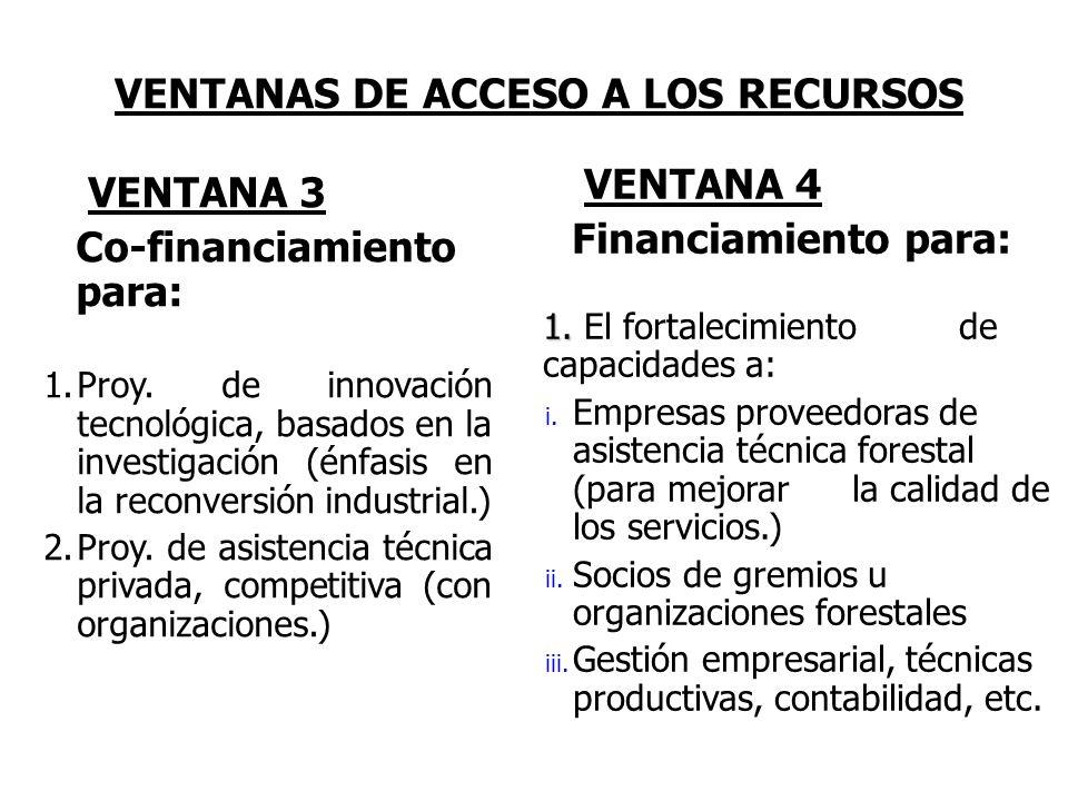 VENTANAS DE ACCESO A LOS RECURSOS VENTANA 3 Co-financiamiento para: 1.Proy. de innovación tecnológica, basados en la investigación (énfasis en la reco