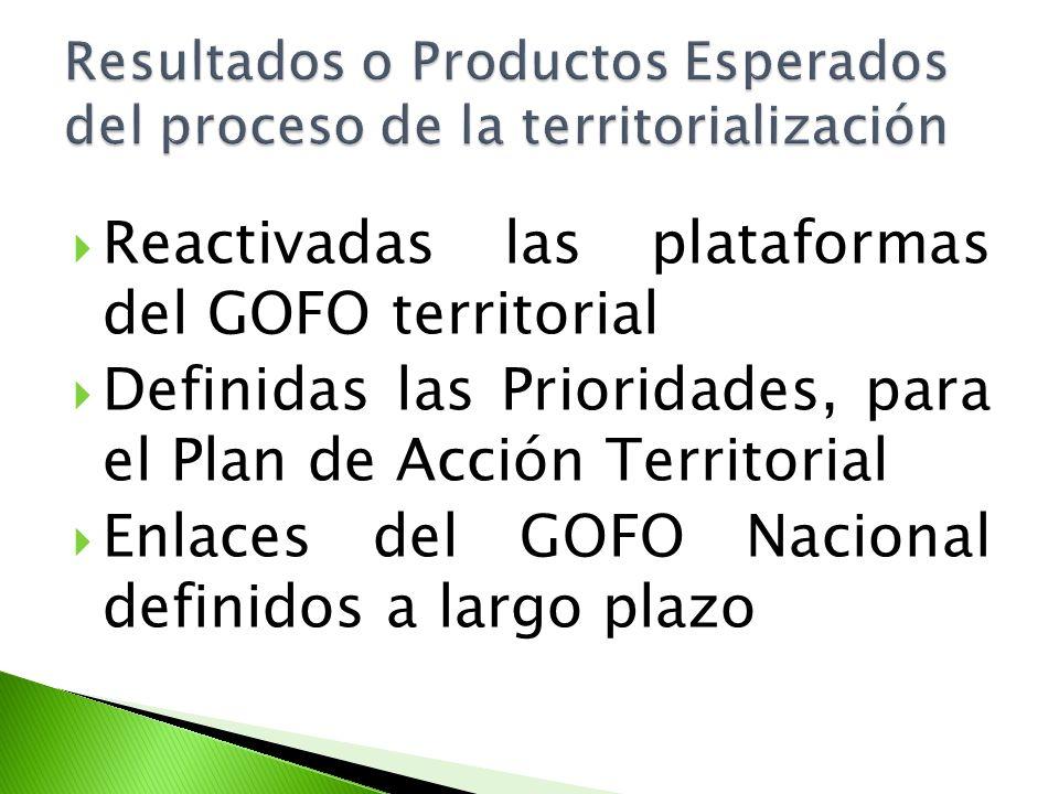 Reactivadas las plataformas del GOFO territorial Definidas las Prioridades, para el Plan de Acción Territorial Enlaces del GOFO Nacional definidos a l