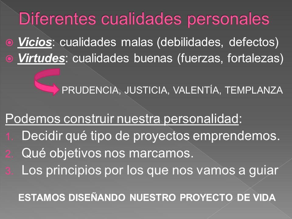 Vicios: cualidades malas (debilidades, defectos) Virtudes: cualidades buenas (fuerzas, fortalezas) PRUDENCIA, JUSTICIA, VALENTÍA, TEMPLANZA Podemos construir nuestra personalidad: 1.