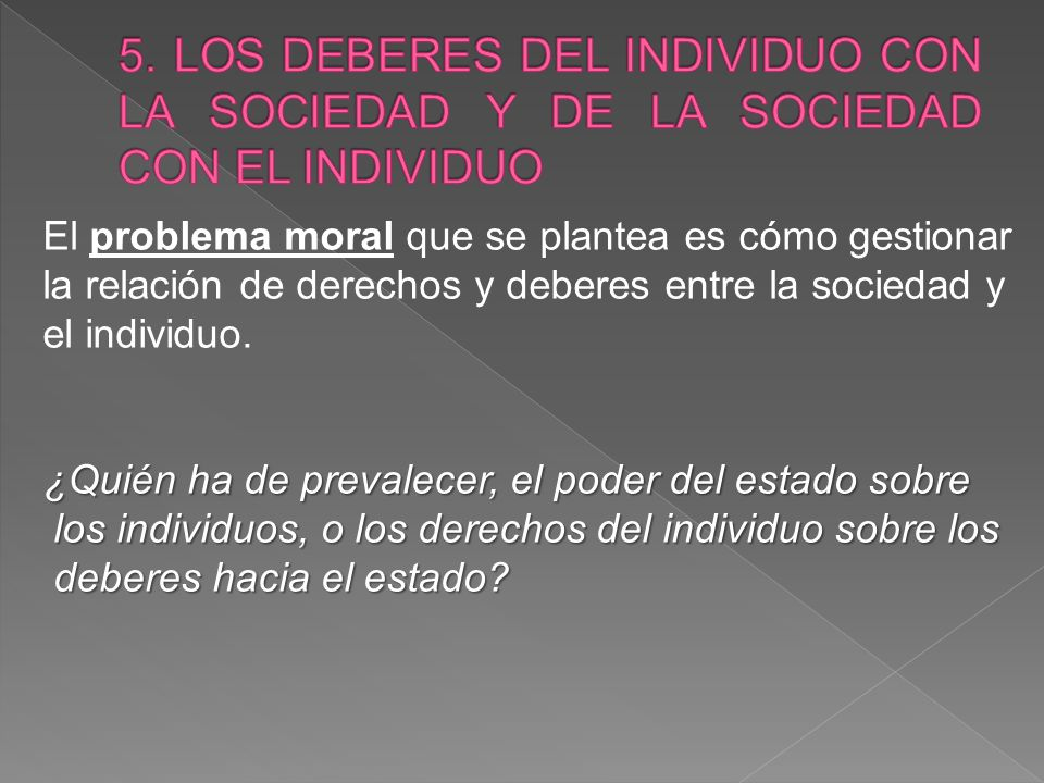 El problema moral que se plantea es cómo gestionar la relación de derechos y deberes entre la sociedad y el individuo.