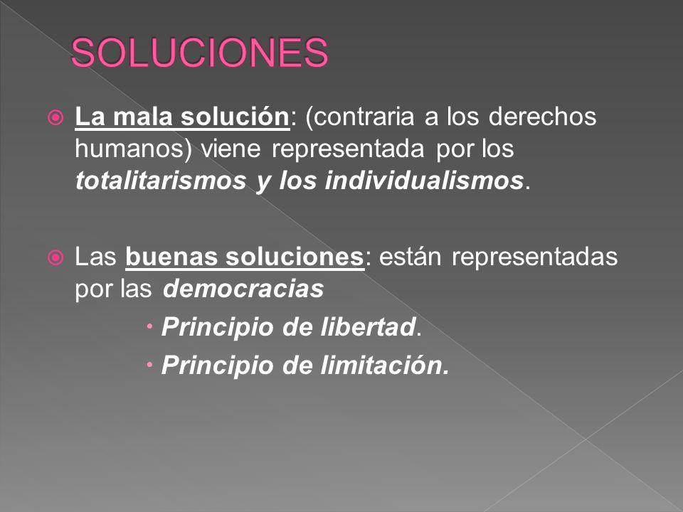 La mala solución: (contraria a los derechos humanos) viene representada por los totalitarismos y los individualismos.