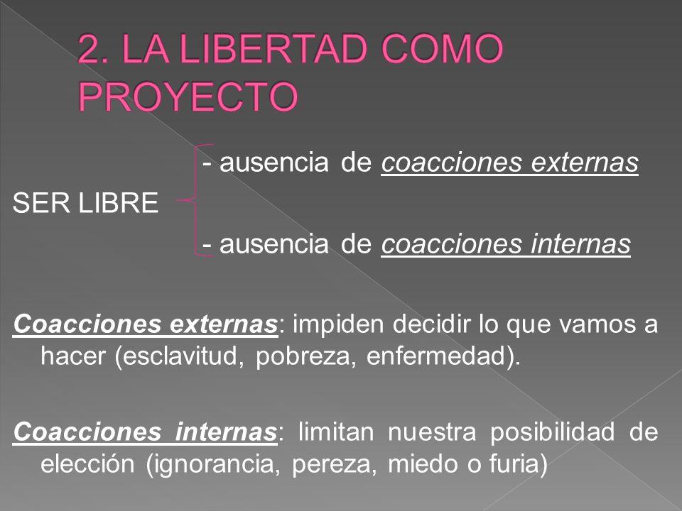 - ausencia de coacciones externas SER LIBRE - ausencia de coacciones internas Coacciones externas: impiden decidir lo que vamos a hacer (esclavitud, pobreza, enfermedad).