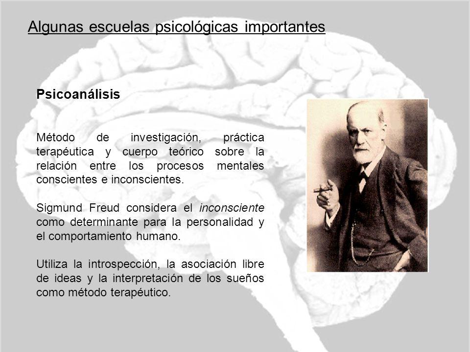Algunas escuelas psicológicas importantes Psicoanálisis Método de investigación, práctica terapéutica y cuerpo teórico sobre la relación entre los pro