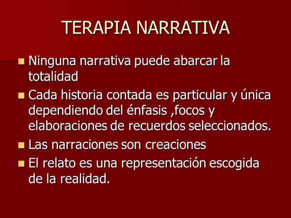 TERAPIA NARRATIVA Ninguna narrativa puede abarcar la totalidad Ninguna narrativa puede abarcar la totalidad Cada historia contada es particular y únic
