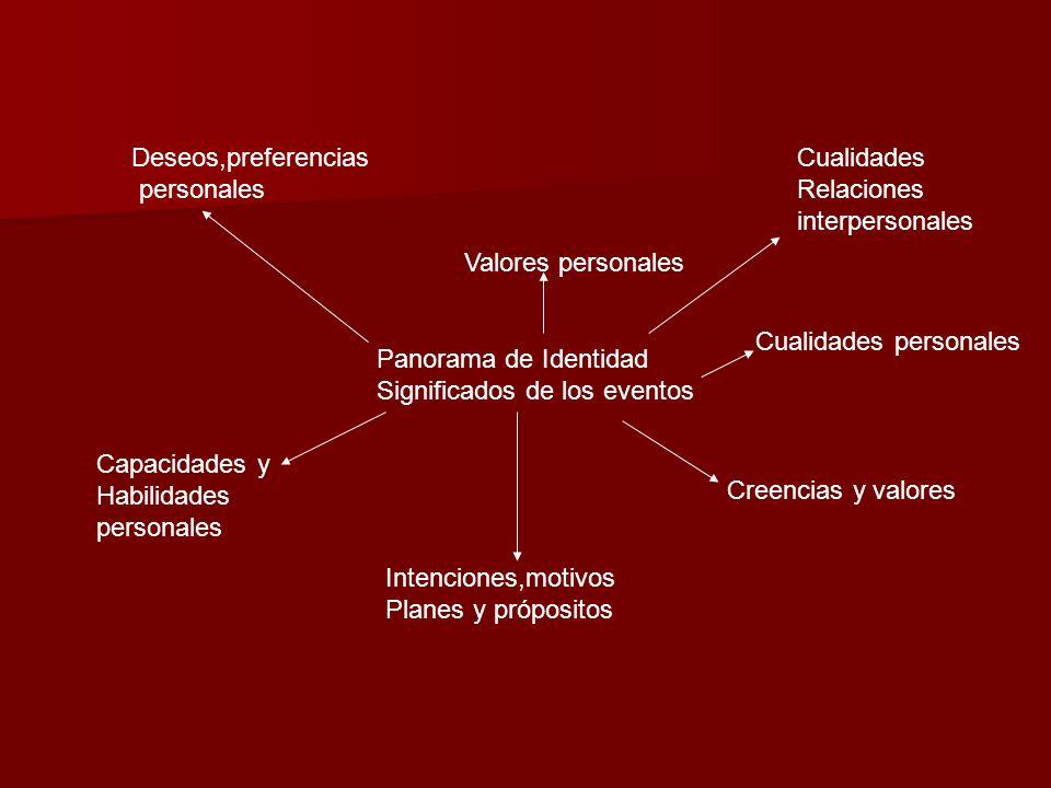 Panorama de Identidad Significados de los eventos Deseos,preferencias personales Valores personales Cualidades Relaciones interpersonales Capacidades
