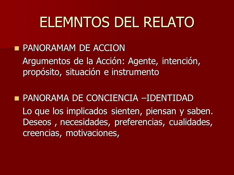 ELEMNTOS DEL RELATO PANORAMAM DE ACCION PANORAMAM DE ACCION Argumentos de la Acción: Agente, intención, propósito, situación e instrumento Argumentos