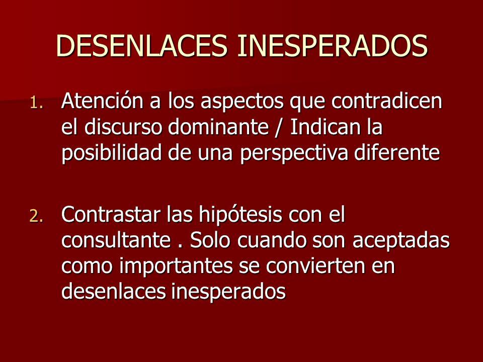 DESENLACES INESPERADOS 1. Atención a los aspectos que contradicen el discurso dominante / Indican la posibilidad de una perspectiva diferente 2. Contr