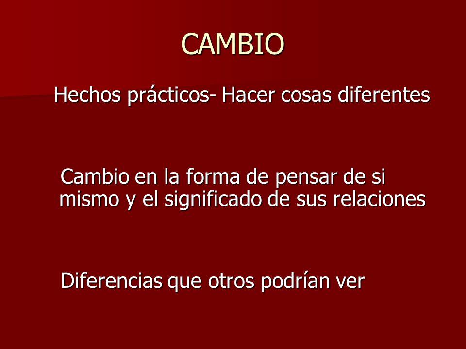 CAMBIO Hechos prácticos- Hacer cosas diferentes Hechos prácticos- Hacer cosas diferentes Cambio en la forma de pensar de si mismo y el significado de